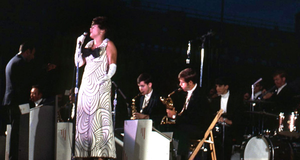 Cathryn Kenzel performing with Hugh Masekela at the Yale Bowl for the Black Coalition