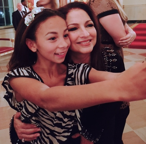 Nora Mullins with Gloria Estefan at Broadway at the White House